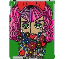Flower bearded girl with bow iPad Case/Skin