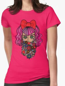 Flower bearded girl with bow Womens Fitted T-Shirt