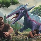 Monster Attacking Cavemen by martyee