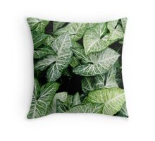 Botanical green leaves Throw Pillow