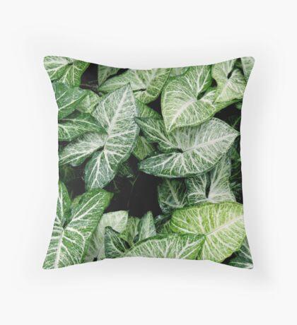 Botanical green leaves Throw Pillow