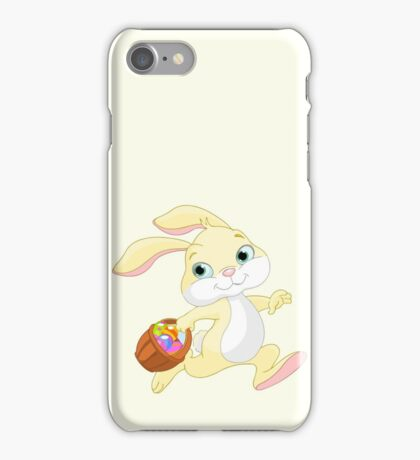 Cute easter bunny carrying basket with eggs iPhone Case/Skin