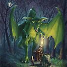 Dragon walking with lamp fantasy by martyee