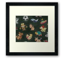 Chalk Toys on Blackboard Framed Print