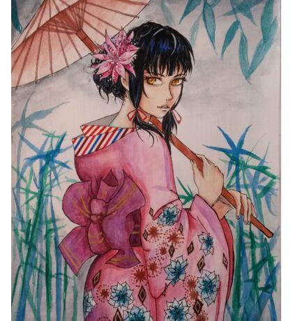 Girl in pink kimono- watercolor Sticker