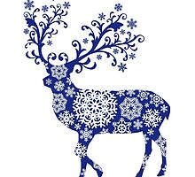 Blue Christmas deer by beakraus