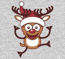 Cool Xmas Reindeer Wearing Santa Hat Baby Tee