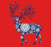 Blue Christmas deer One Piece - Short Sleeve