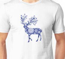 Blue Christmas deer Unisex T-Shirt