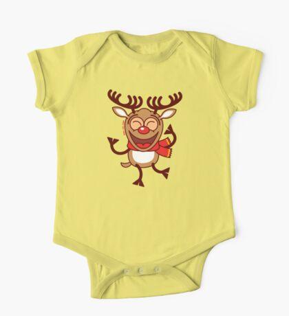 Christmas Reindeer dancing animatedly One Piece - Short Sleeve