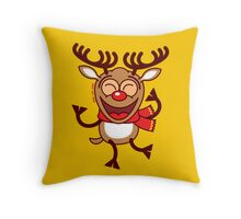 Christmas Reindeer dancing animatedly Throw Pillow