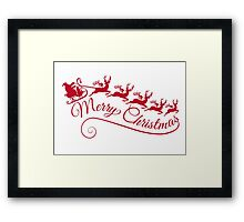 Merry Christmas, Santa Claus with his sleigh Framed Print