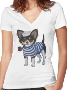 Sailor Chihuahua Women's Fitted V-Neck T-Shirt