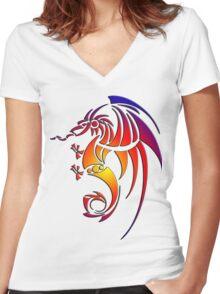 Dragissous V1 dragon Women's Fitted V-Neck T-Shirt