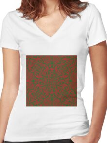Red and Green Vector Women's Fitted V-Neck T-Shirt