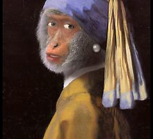 Chimp with the Pearl Earring by Gravityx9