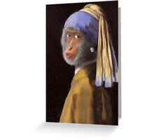 Chimp with the Pearl Earring Greeting Card