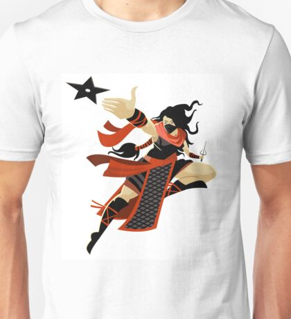 ninja woman with sai blade and throwing star Unisex T-Shirt