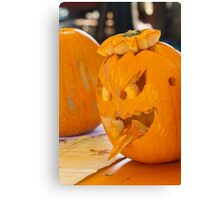 carved pumpkin for Halloween Canvas Print