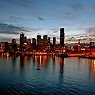Seattle Harbour at Sundown by ten2eight