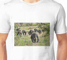 running group of common Chimpanzees Unisex T-Shirt