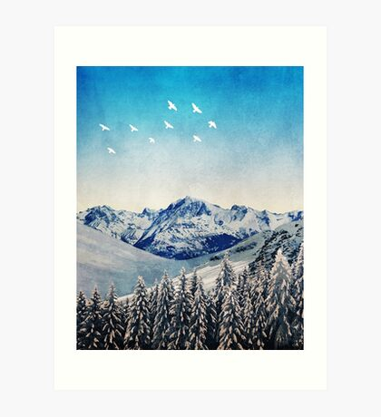 Snowy Mountain Scene - Version 1. Art Print