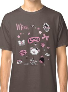 Badges labels cute girl little things loves lolly bear bird princess hello pink scribbles baby  Classic T-Shirt