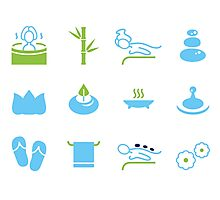 Hand-drawn cute wellness Icons Photographic Print