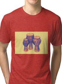 Sketch of African drums. Illustration Tri-blend T-Shirt