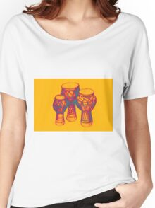Sketch of African drums. Illustration Women's Relaxed Fit T-Shirt