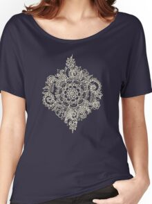 Cream Floral Moroccan Pattern on Deep Indigo Ink Women's Relaxed Fit T-Shirt