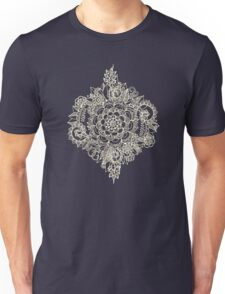 Cream Floral Moroccan Pattern on Deep Indigo Ink Unisex T-Shirt