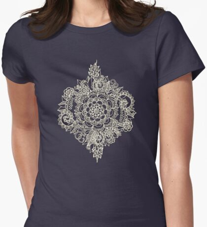 Cream Floral Moroccan Pattern on Deep Indigo Ink Womens Fitted T-Shirt
