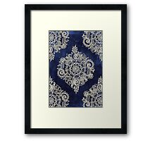 Cream Floral Moroccan Pattern on Deep Indigo Ink Framed Print
