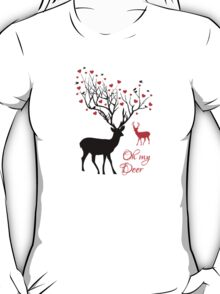 Oh my deer, stag with red hearts, design for Valentine's day, Christmas T-Shirt