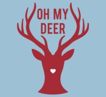 Reindeer head with text Oh my deer, for Valentine's day, Christmas card, Xmas gift Kids Clothes