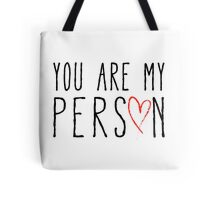 You are my person, text design with red scribble heart Tote Bag