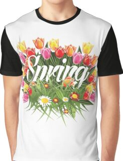 Spring tulips, grass and wildflower burst design Graphic T-Shirt