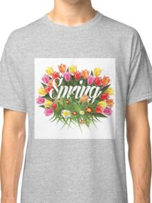 Spring tulips, grass and wildflower burst design Classic T-Shirt