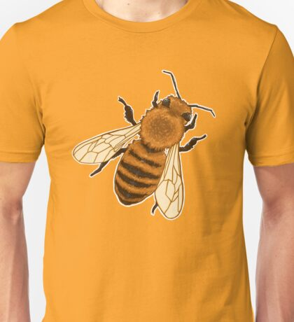 Honeybee Honey [Yellow Background] / beekeeping bee keeper swarm honeycomb raw harvest peramculture beekeeper flowers pollinator ecosystem Unisex T-Shirt