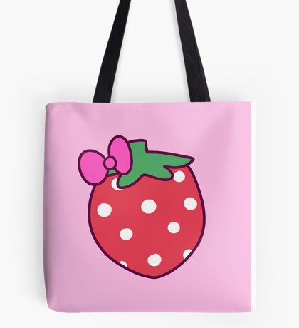 Pink Bow Strawberry Tote Bag