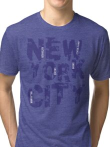 New York City Text Typography States America Tri-blend T-Shirt