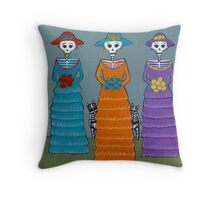 Catrinas and Cats Throw Pillow