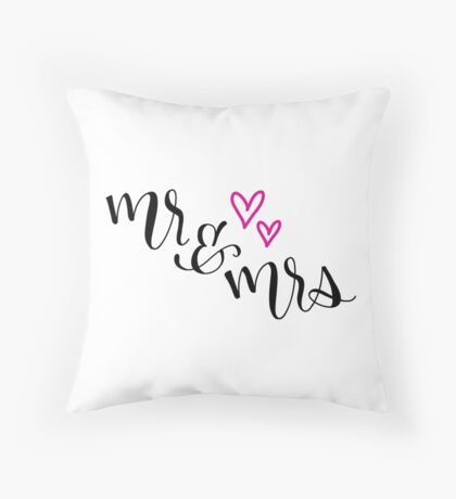 Mr & Mrs Hand Lettering Throw Pillow