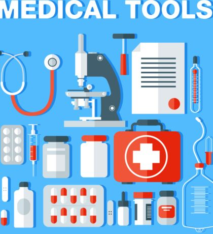 Medical Tools Icons Set. Health Care Stuff Sticker