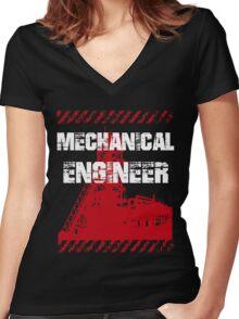 Grunge Mechanical Engineer Women's Fitted V-Neck T-Shirt