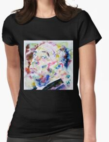 ALFRED HITCHCOCK watercolor portrait.1 Womens Fitted T-Shirt