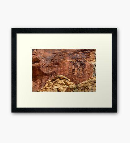 Three Kings Petroglyphs - Dry Fork Canyon - Vernal Utah Framed Print
