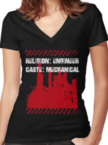 Typography Funny Sayings Mechanical Engineer Women's Fitted V-Neck T-Shirt