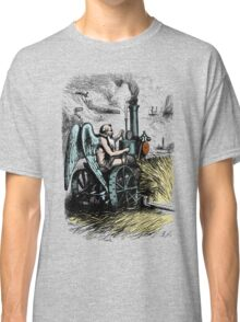 Vintage Hipster People Design - Old Angel Mowing Lawn Classic T-Shirt